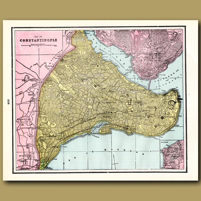 Antique print. Map of Constantinople (with map of Naples on the back)