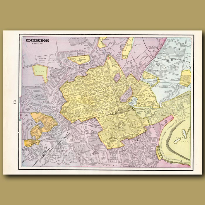Antique print. Map of Edinburgh (with plan of Dundee and map of Glasgow on the back)