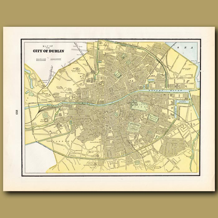 Antique print. Map of the City of Dublin (with map of Vienna on the back)