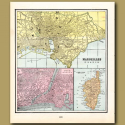 Map Of Marseilles, Nice And Corsica (with Map Of Valetta, Valencia And Copenhagen On The Back)