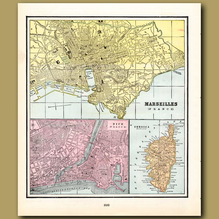 Antique print. Map of Marseilles, Nice and Corsica (with map of Valetta, Valencia and Copenhagen on the back)