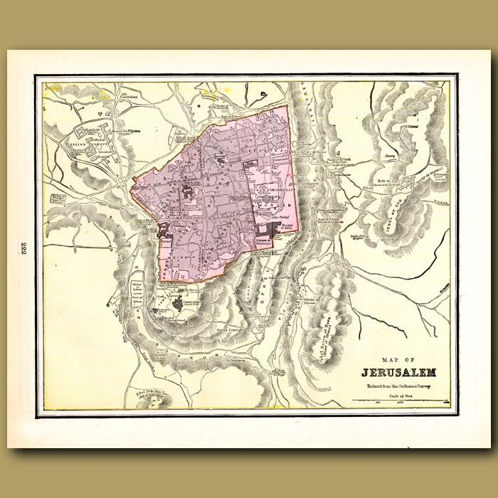 Antique print. Map of Jerusalem (with map of Cyprus and Alexandria on the back)