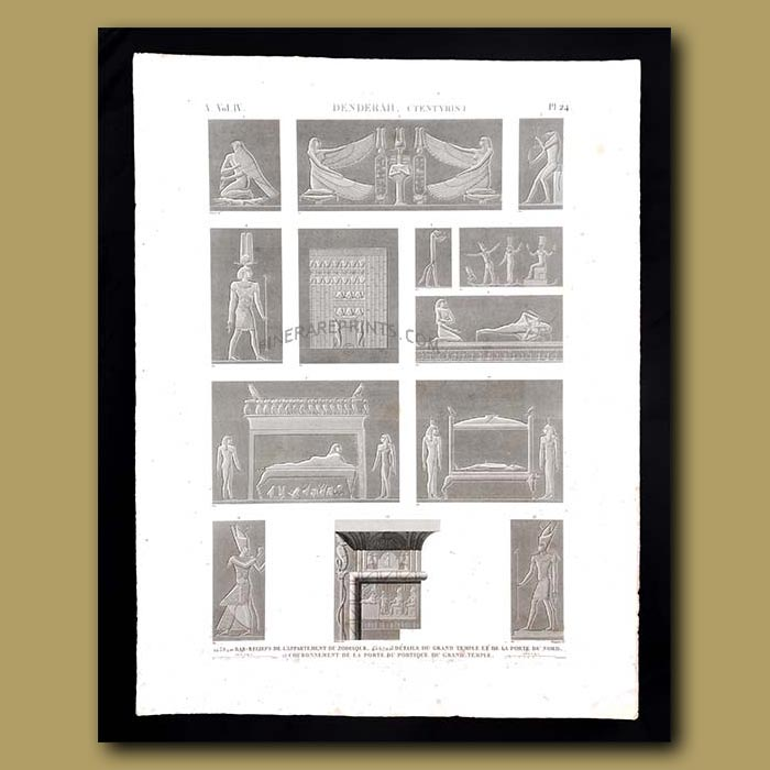 Antique print. Bas-reliefs of the apartment of the Zodiac and details of the great temple