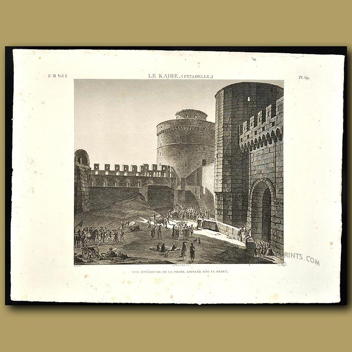 Antique print. View of the interior of the fort at Cairo