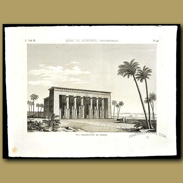 Antique print. View of the Temple
