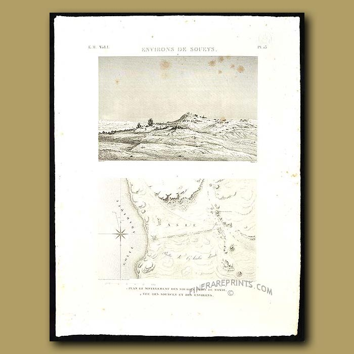 Antique print. View and plan of the area around Suez
