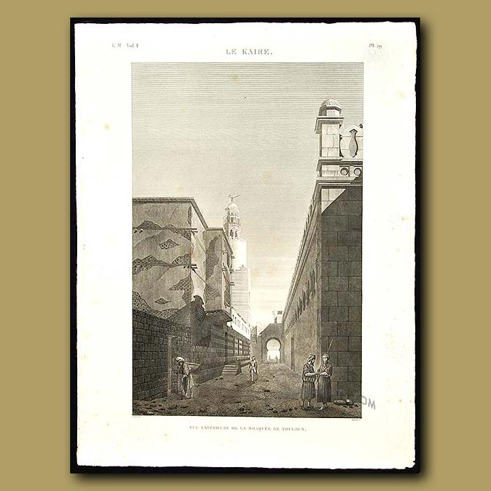 Antique print. View of the exterior of the Mosque of Toulon in Cairo