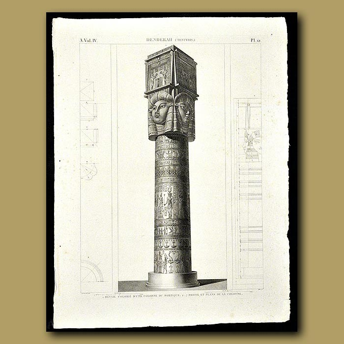 Antique print. Details of a Column at Denderah
