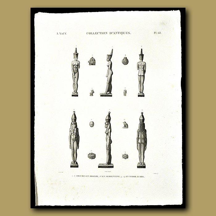 Antique print. Figures in Bronze, Serpentine and Terra cotta