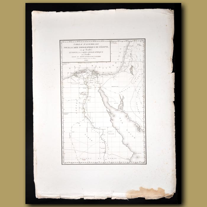 Antique print. Map of Egypt, the Nile river, the Sinai and the Red Sea