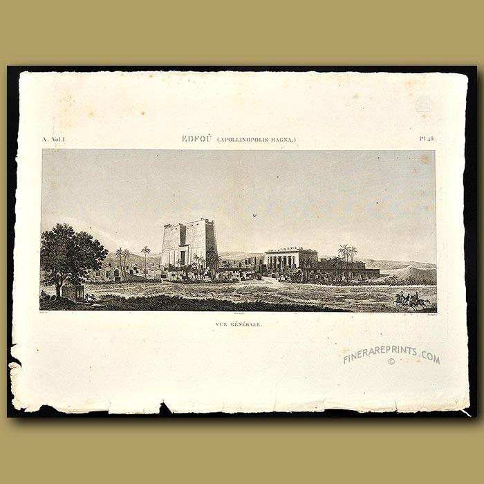 Antique print. View of the ruins at Apollinopolis Magna