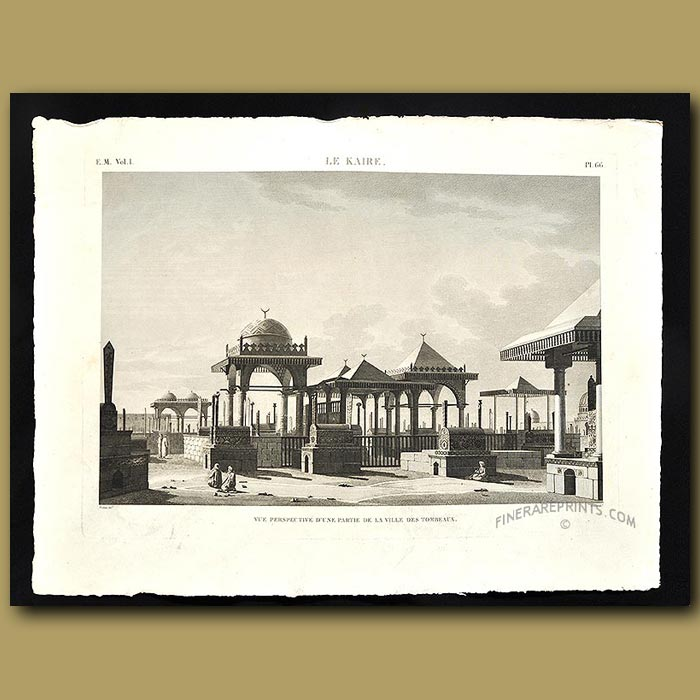 Antique print. View of the tombs of Cairo