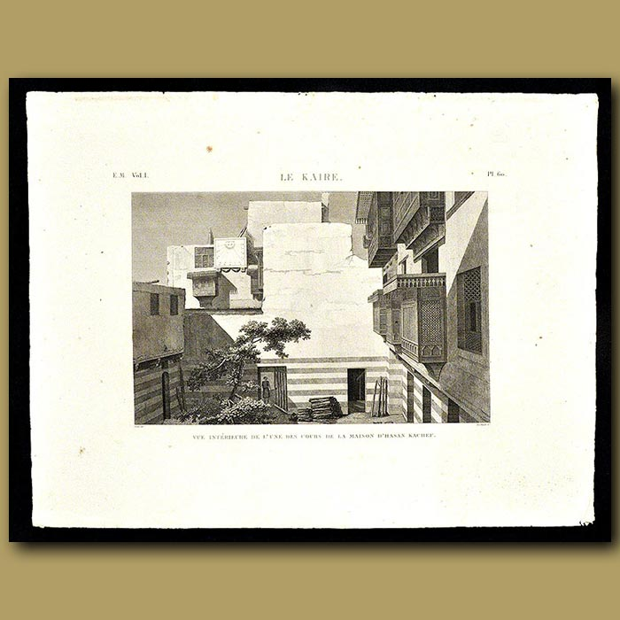 Antique print. Interior Courtyard of the house of Hasan Kachef