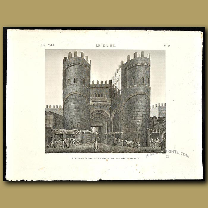 Antique print. Gate of a fort in Cairo