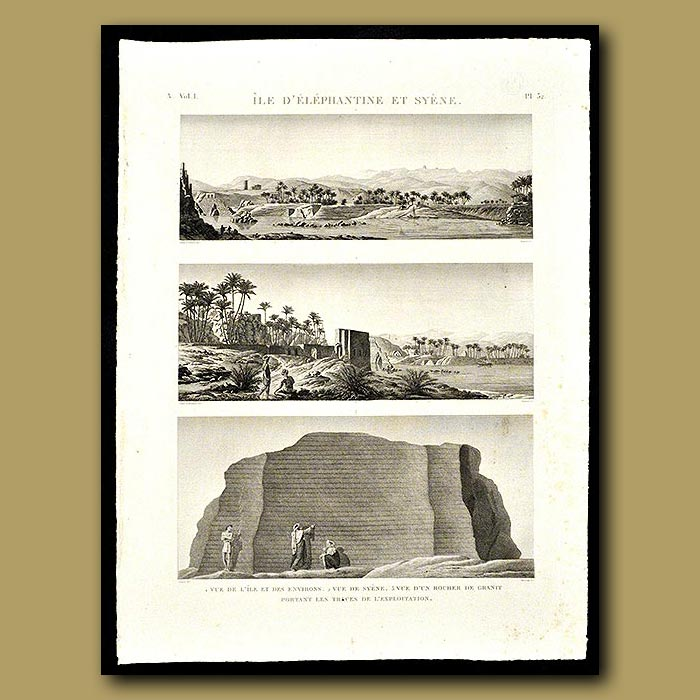 Antique print. View of the Island and the surrounding area of Syene