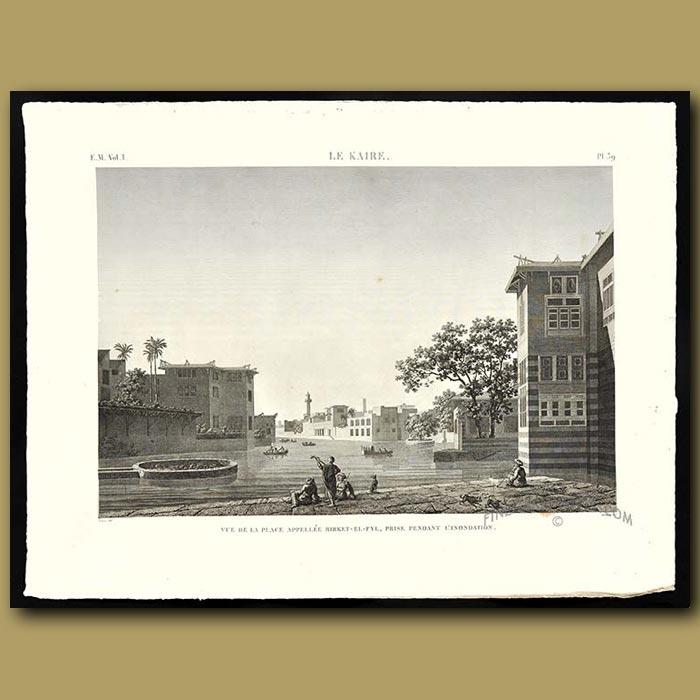 Antique print. View of the Birket-el-Fyl in a flood