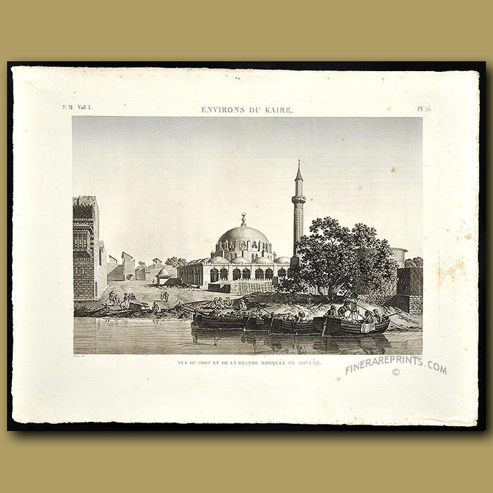 Antique print. View of the port of the Mosque of Boulaq