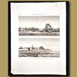 View of a village on the banks of the Nile near Thebes, Elephantine, Alexandria etc
