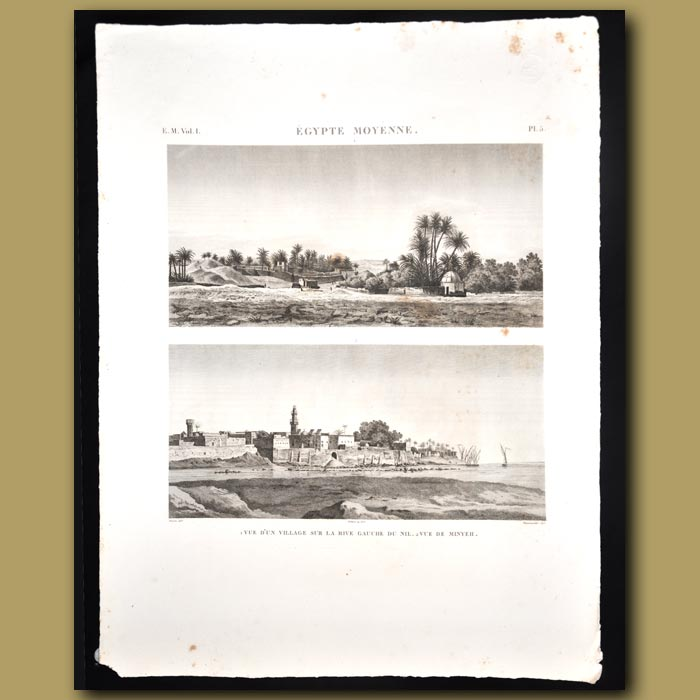 Antique print. View of a village on the banks of the Nile near Thebes, Elephantine, Alexandria etc