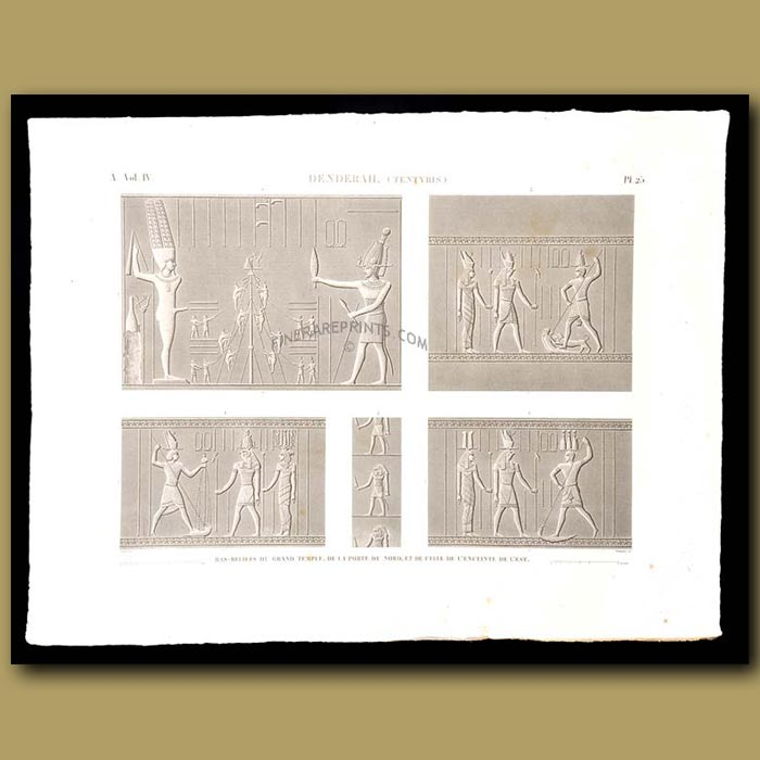 Antique print. Bas-reliefs of the great temple of the north gate