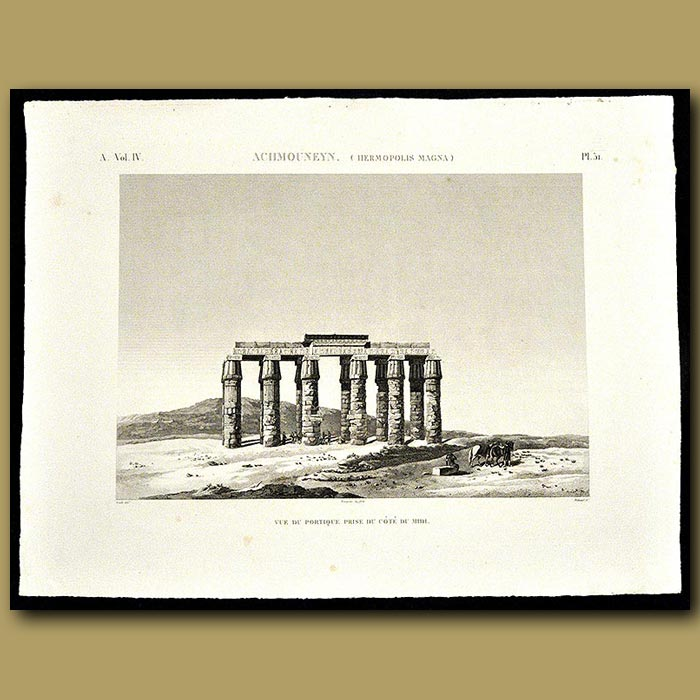 Antique print. View of a Temple