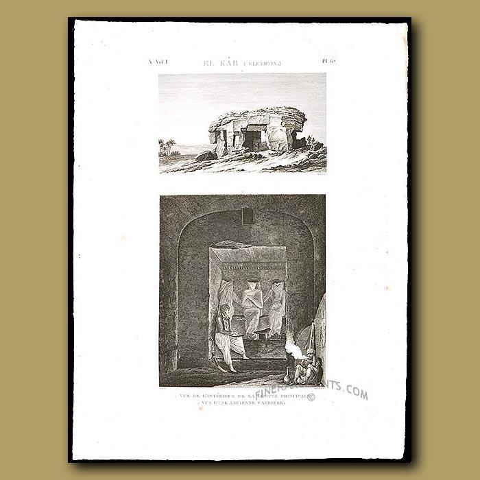 Antique print. Interior of a cave