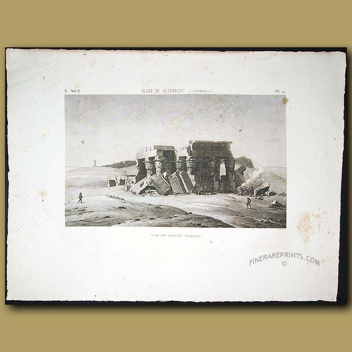 Antique print. View of the Grand Temple