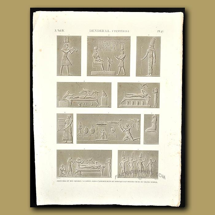 Antique print. Bas-relief sculptures from inside the Grand Temple