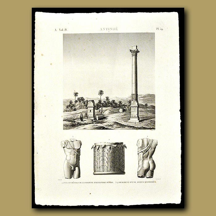 Antique print. View of Alexandria's Column