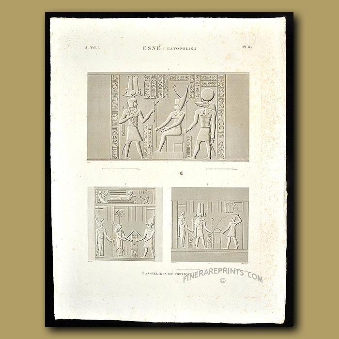 Antique print. Bas-reliefs of the portico
