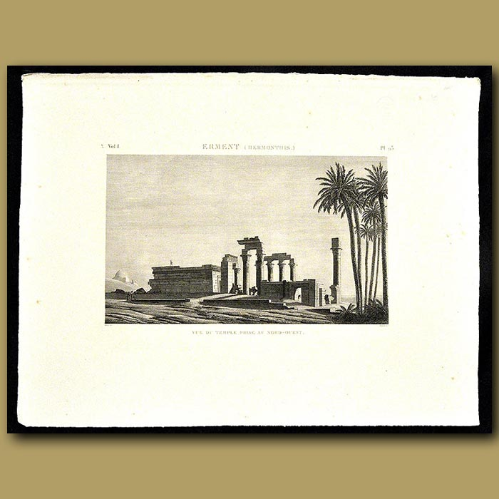 Antique print. View of the temple from the North-east