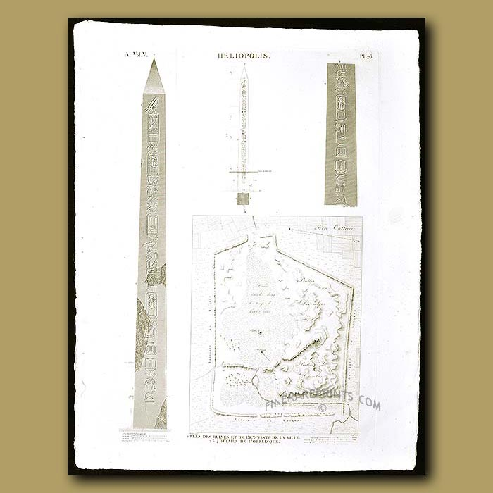 Antique print. Plans and enclosure of the ruins of the city and an Obelisk