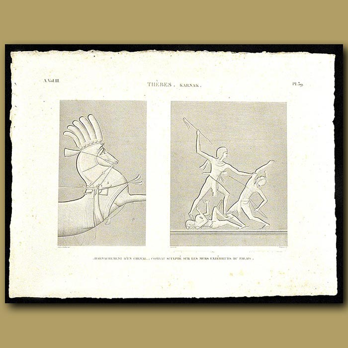 Antique print. Harnessing a horse. Bas-reliefs from the walls of the Palace