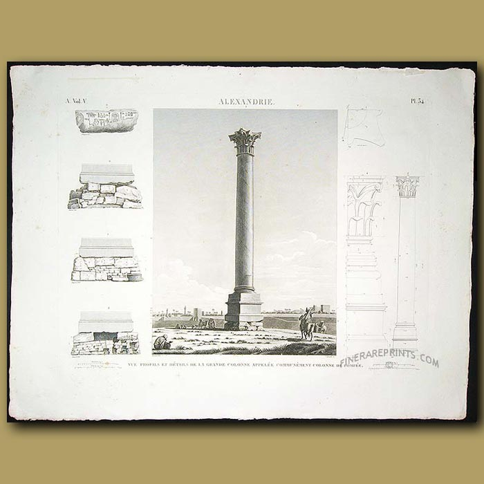 Antique print. View profiles and details of great column commonly called Pompey's Pillar