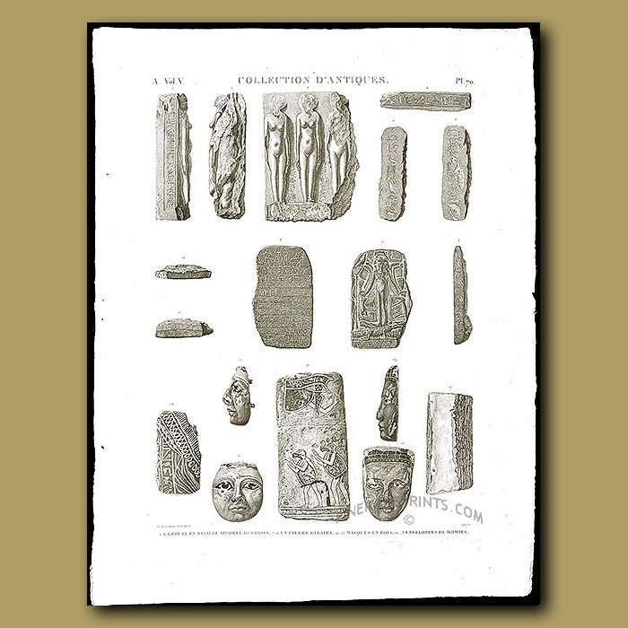 Antique print. Figures and Masks in basalt and wood