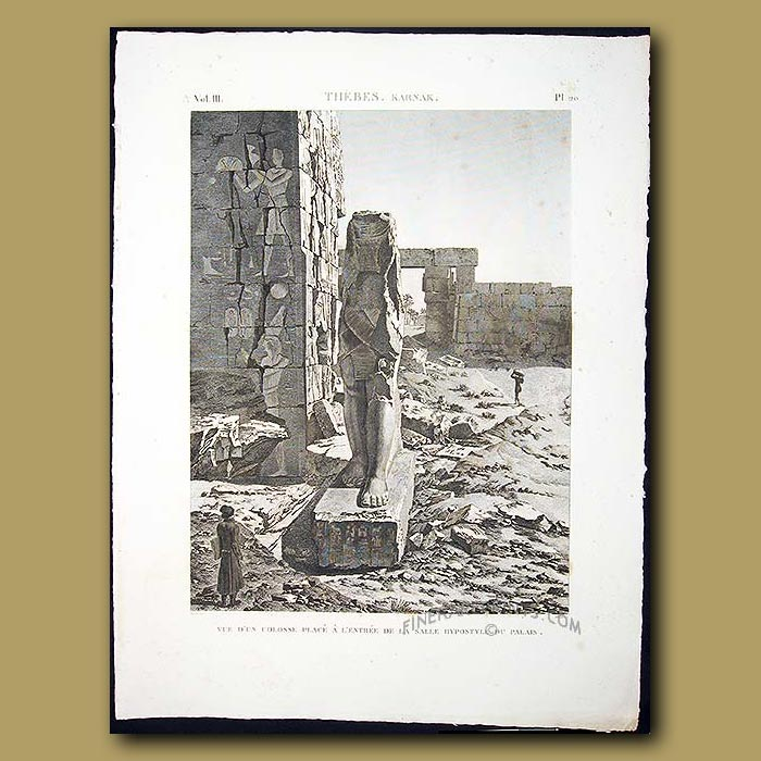 Antique print. The Colossus near the entrance Hall to the Palace of Hypostyle