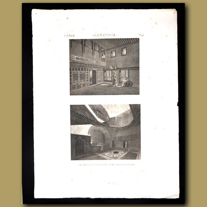 Antique print. Interior views of a house in Alexandria