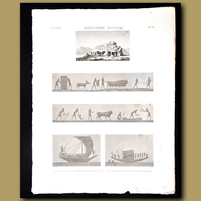 Antique print. Heptanomide (Beny-Hasan))