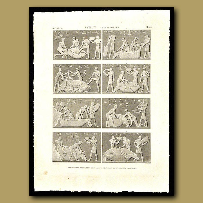Antique print. Collection of reliefs from the Hypogee main room