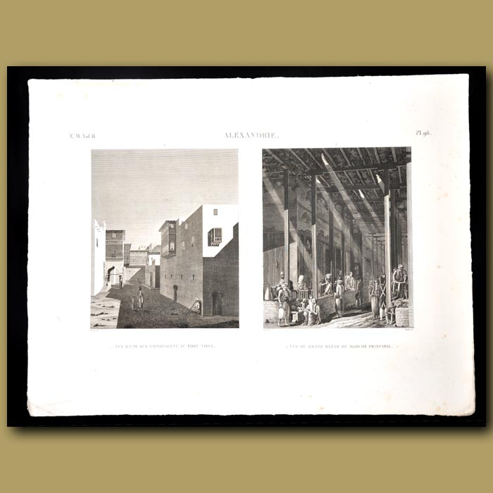 Antique print. Views of the streets of Alexandria and Grand Bazaar