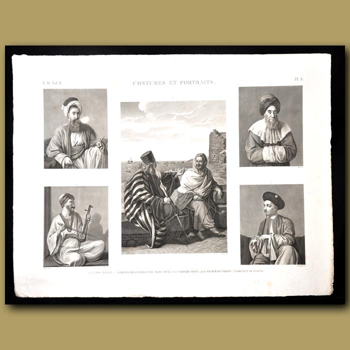 Antique print. Costumes and habits of Egyptian men