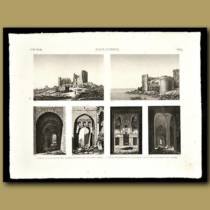 Antique print. Views of Arab homes