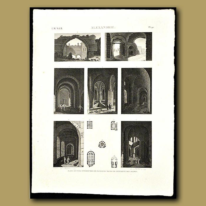 Antique print. Plans and views of Arab enclosures