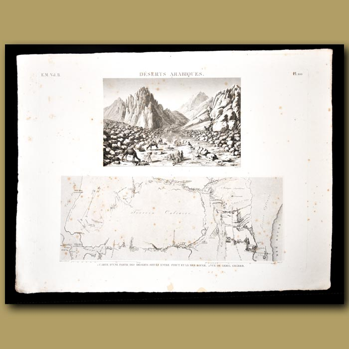 Antique print. View and Map of Deserts Arabiques (Sinai desert)