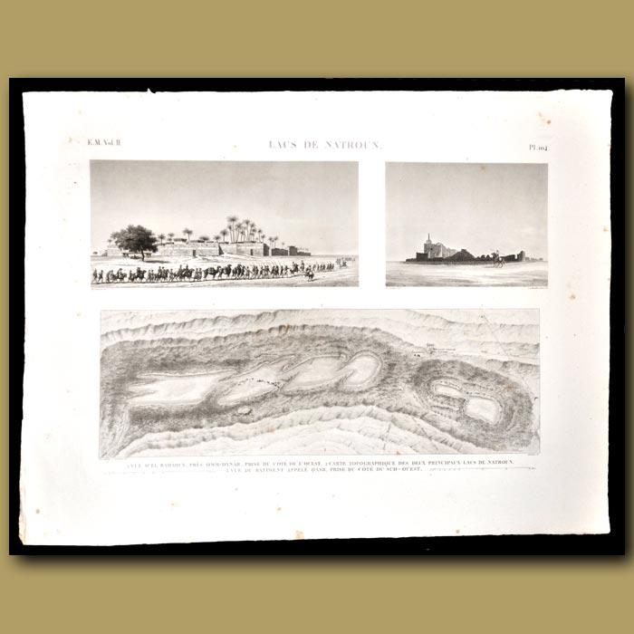 Antique print. Lacs et Natroun