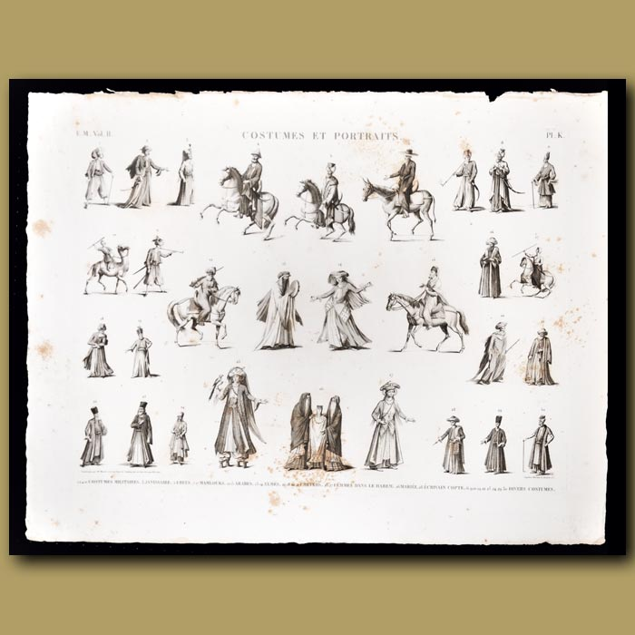 Antique print. Costumes of the military, Mamalouks, Arabs and women of a harem