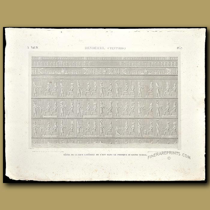 Antique print. Details from the portico of the Grand Temple