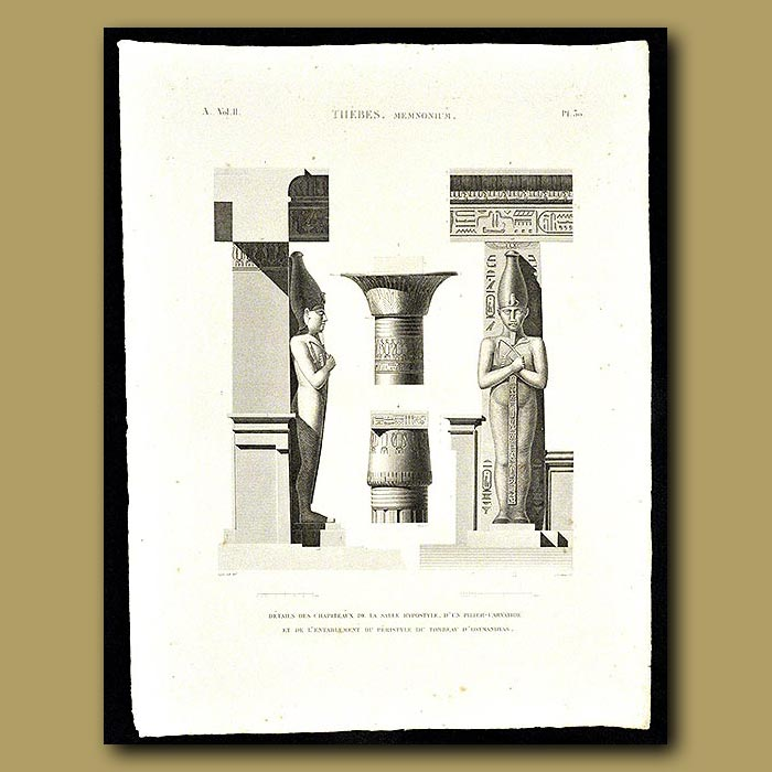 Antique print. Details of Hypostyle Hall at the tomb of Osymandyas