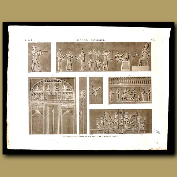 Antique print. Bas-reliefs of the temple of the west and a nearby cave