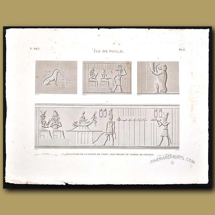 Antique print. Bas-relief sculptures from the Temple
